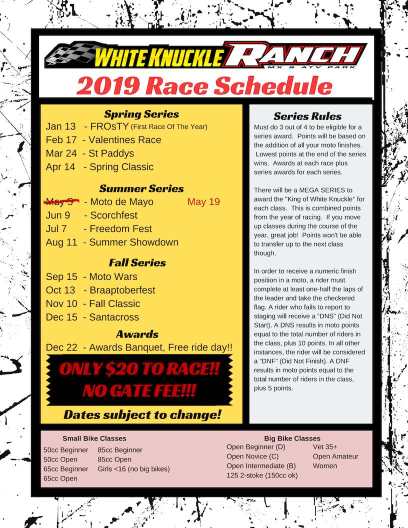 2019 Race Schedule